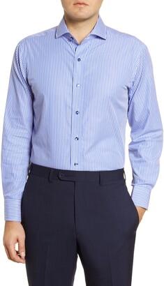 Lorenzo Uomo Trim Fit Bengal Stripe Dress Shirt