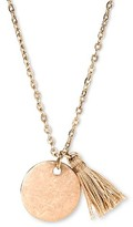Hudson Moon Women's Hudson Moon® Pendant Necklace with Round Disc and Tassel - Gold/Beige