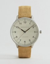 Newgate Blip Suede Strap Watch With Cream Dial