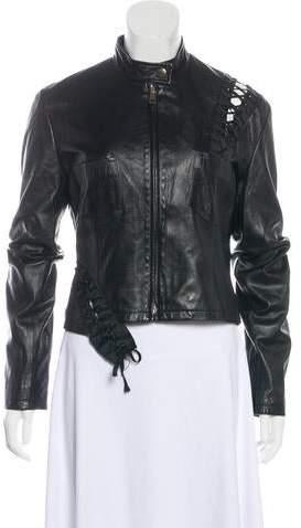 72339af17 Lace-Up Leather Jacket