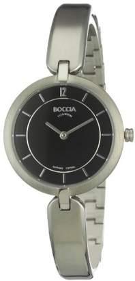 Boccia Women's Quartz Watch with Black Dial Analogue Display and Silver Titanium Bangle B3164-02