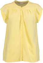 Joie Danaite pleated washed-silk top