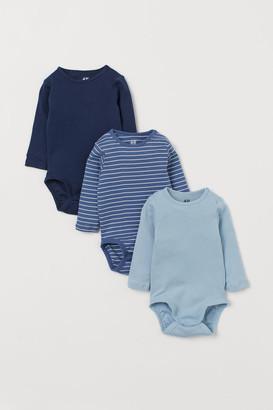 H&M 3-pack Cotton Bodysuits - Blue