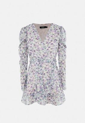 Missguided Lilac Floral Print Ruffle Hem Tea Dress