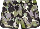 River Island Mens Green camo shard print runner swim shorts