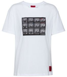 HUGO BOSS Slim Fit Cotton T Shirt With Collection Themed Graphic - White