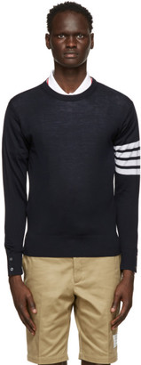 Thom Browne Navy Merino 4-Bar Sweater