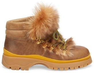 Prada Shearling-Trim Leather Hiking Boots
