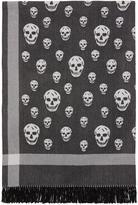 Alexander McQueen Black and Off-white Skull Blanket Scarf