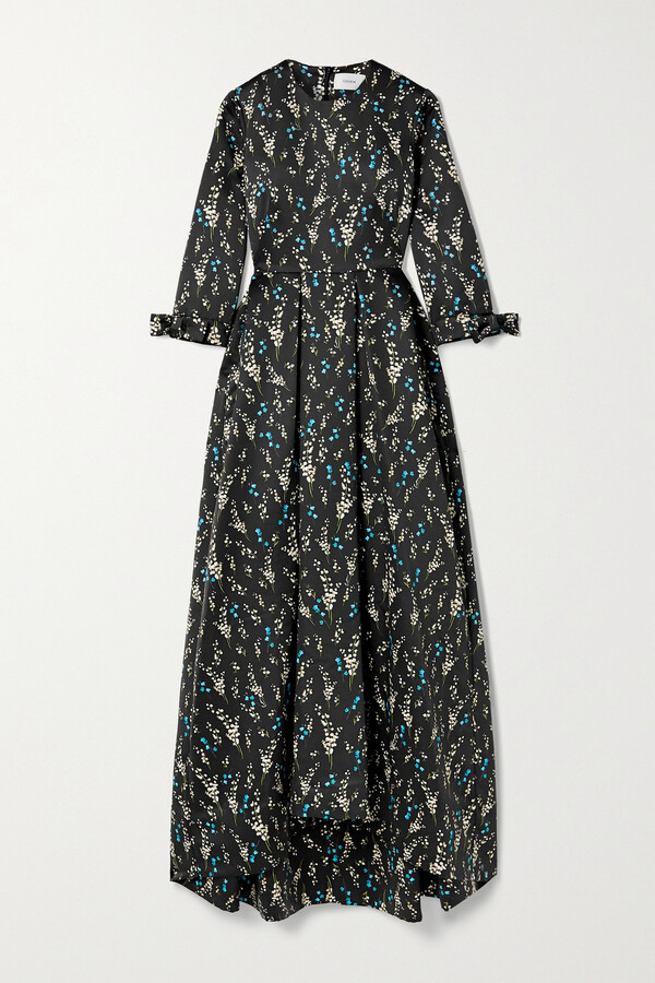 Thumbnail for your product : Erdem Helenium Asymmetric Pleated Floral-print Satin-twill Gown - Black