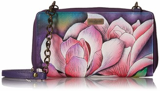 Anuschka Hand Painted Leather Women's Zip Around RFID Crossbody Clutch - Magnolia Melody