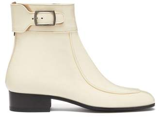 Saint Laurent Miles Square Toe Patent Leather Ankle Boots - Womens - Cream