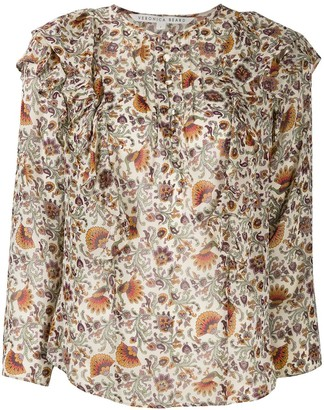 Veronica Beard Ruffled Floral Print Silk Top