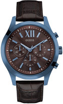 GUESS Men's Chronograph Brown Leather Strap Watch 46mm U0789G2