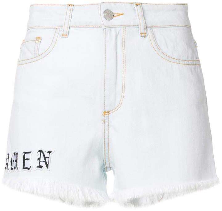 Amen logo print frayed shorts