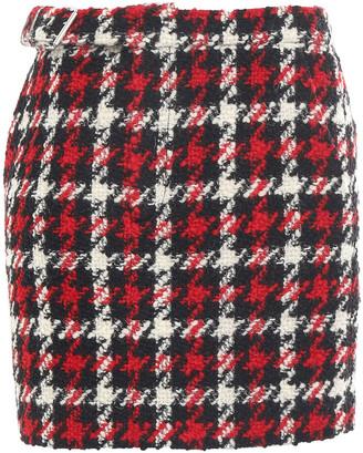 McQ Houndstooth Wool-blend Tweed Mini Skirt