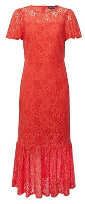 Dorothy Perkins Womens Coral Lace Peplum Midi Dress, Coral