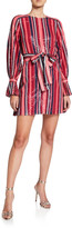 Carolina Herrera Puff-Sleeve Striped Sequin Mini Dress