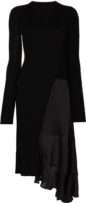 Sacai Asymmetric Ribbed-Knit Midi Dress