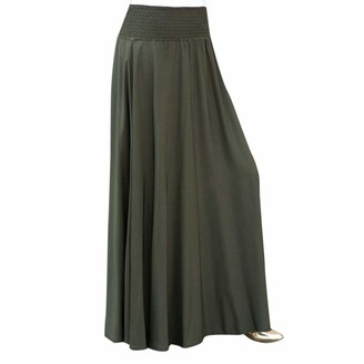 Gofodn Skirts Women Plus Size Long High Waisted Casual Vintage Solid Elastic Waist A Line Holiday Maxi Loose Long Skirts Blue