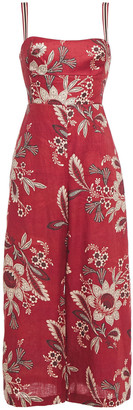 Zimmermann Juno Cropped Floral-print Linen Wide-leg Jumpsuit