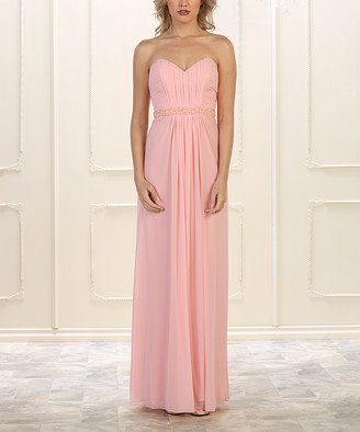 Blush B-Lush Mayqueen MayQueen Women's Special Occasion Dresses Blush - Blush Embellished Pleat-Front Gown & Shawl - Women
