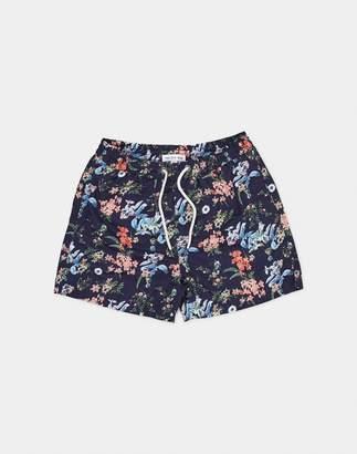 The Idle Man - Floral Print Swim Shorts