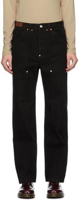 ANDERSSON BELL Black Matt Raw-Cut Jeans