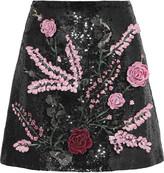 Giambattista Valli Sequin-embellished silk mini skirt