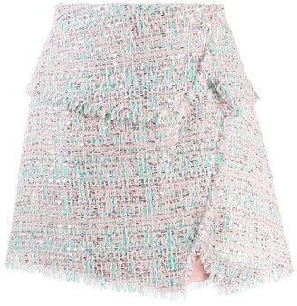 Balmain Raw-Trimmed Tweed Skirt