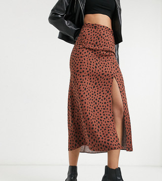 Asos Tall ASOS DESIGN Tall midi skirt with thigh split in tan and black print
