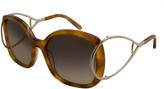 Chloé Brown Tortoise Openwork-Arm Oversize Sunglasses