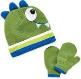 Asstd National Brand Dino Hat & Mittens Set- Toddler Boys