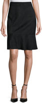 T Tahari Bellamy Faux-Suede Ruffle Skirt, Black