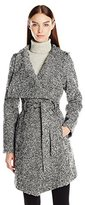 GUESS Women's Tweed Wool Water Resistant Wrap Coat