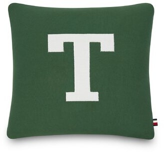 """Tommy Hilfiger Tommy Letterman Cotton Indoor / Outdoor 18"""" Throw Pillow"""