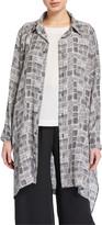 eskandar Checkered Wide Long-Back Shirt