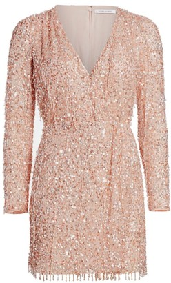 Rachel Gilbert Belle Sequin Beaded Faux-Wrap Dress