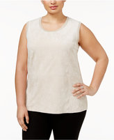 Calvin Klein Plus Size Sleeveless Faux-Suede-Front Sweater