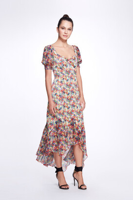 Marchesa Notte Short Puff Sleeve Sweetheart Neck Crinkle Chiffon Hi-Lo Dress
