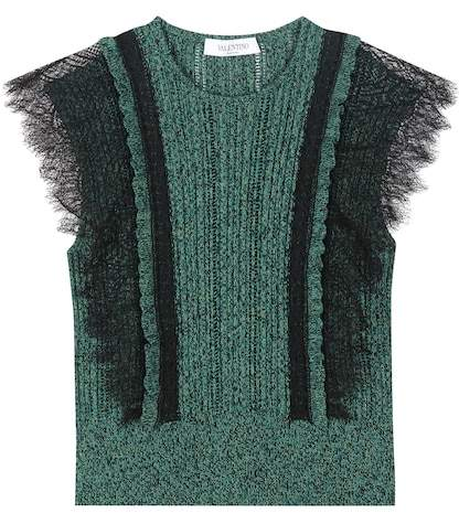 Valentino Cotton sweater with lace