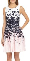 Tahari Petite Women's Floral Jacquard Fit & Flare Dress