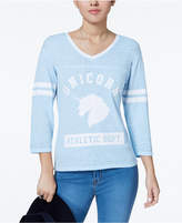 Freeze 24-7 Juniors' Unicorn Graphic Varsity T-Shirt