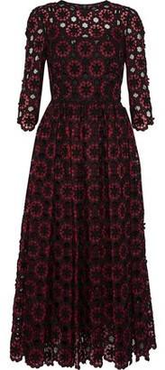 Dolce & Gabbana Floral-appliqued Cotton-blend Tulle Midi Dress