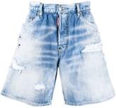 DSQUARED2 rainbow embroidered denim shorts