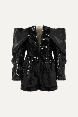 Balmain Off-the-shoulder Sequined Tulle Playsuit - Black