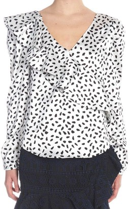 Self-Portrait Polka Dot Ruffle Detail Blouse