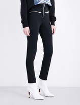 Versace Zip-detailed stretch-jersey trousers