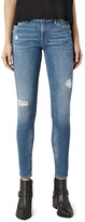 AllSaints Mast Distressed Skinny Jeans in Fresh Blue
