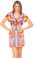 Luli Fama Chasing Waterfalls Cap Sleeve Short Caftan In Multicolor (L446991)